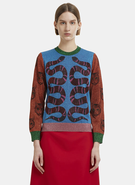 e94a2eac072315 Gucci Snake Metallic Knit Sweater in Blue