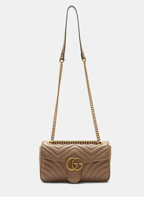 1e9b605abec0 GG Marmont Matelassé Small Chain Shoulder Bag in Taupe