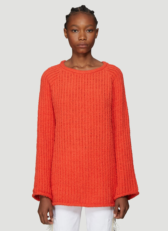 Referee Knit Sweater In Orange by Eckhaus Latta