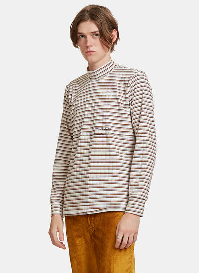 Lapped Striped Patchwork Sweater