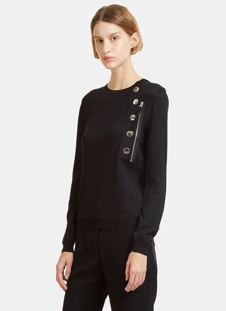 Collier Metal Button Knit Sweater