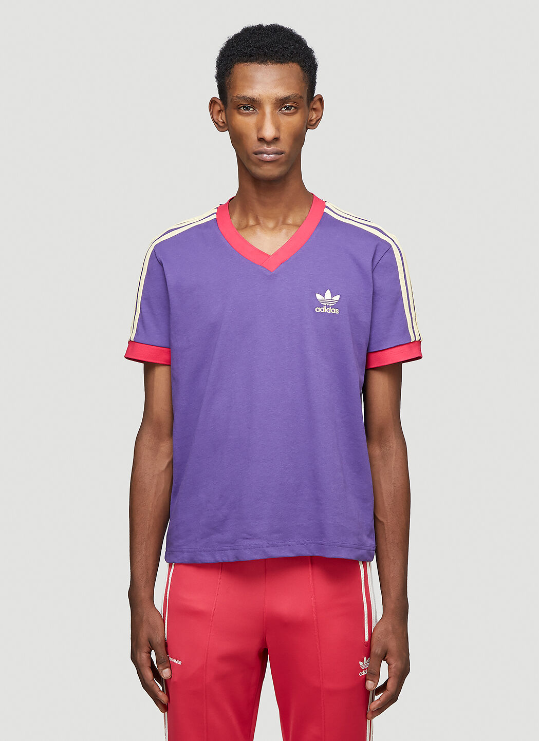 adidas by Wales Bonner Unisex 70s V-Neck T-Shirt in Purple | LN-CC