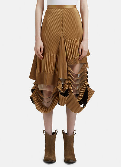 Maison Margiela Technical Pleat Frayed Edge Skirt