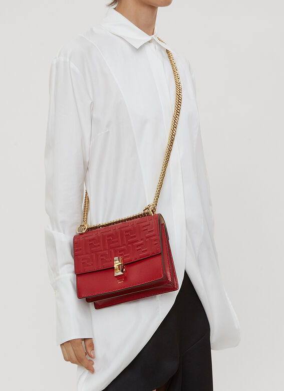 ecd9c190 Fendi Kan I Small Leather Shoulder Bag in Red | LN-CC