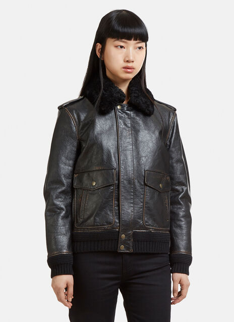 Saint Laurent Leather Heaven Aviator Jacket
