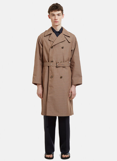 Marni Checked Double Breasted Trench Coat