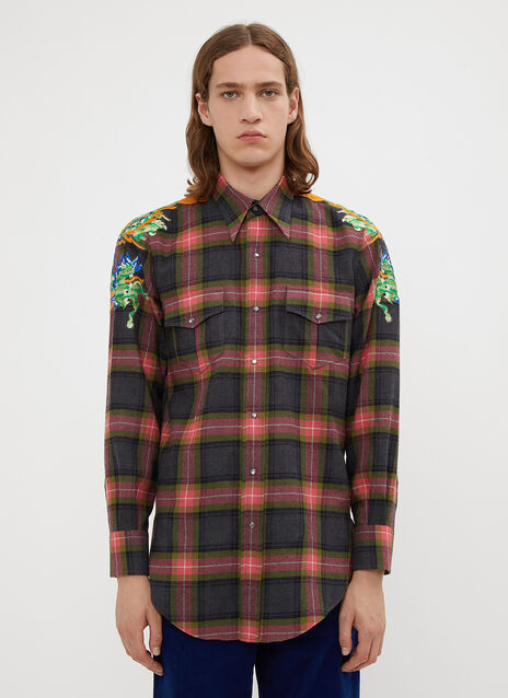 Gucci Dragon Embroidered Checked Print Shirt