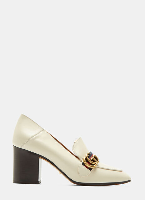 Gucci Striped Web Mid-Heel Leather Loafers