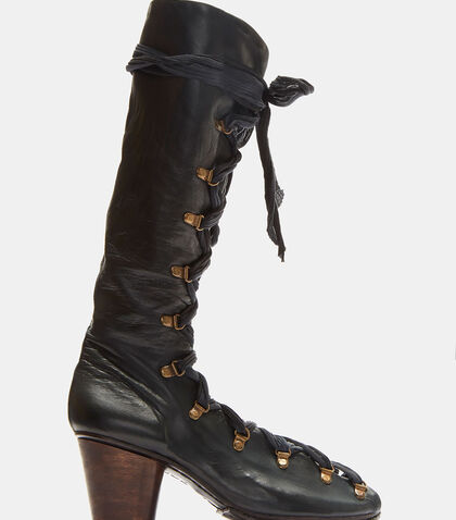 Lace-Up Open Leather Boots