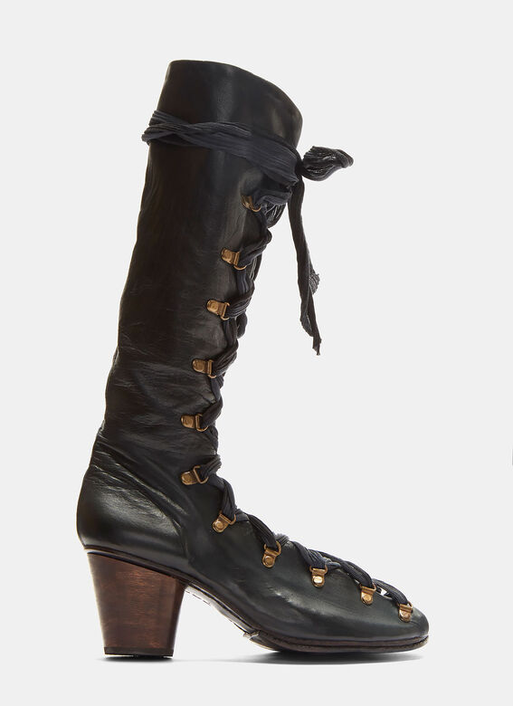 Atelier Inscrire Lace-Up Open Leather Boots