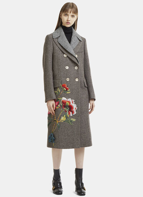 Jewelled Floral Wool Coat