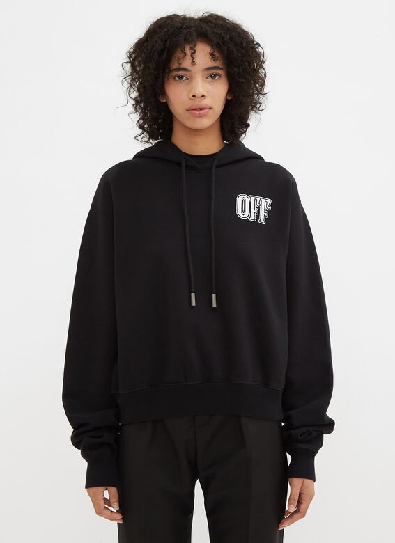 Off-White Hooded Lips Cropped Sweater