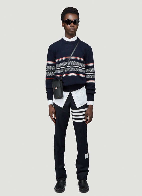 Thom Browne UNCONSTRUCTED CHINO TROUSER W/ SEAMED IN 4 BAR STRIPE IN COTTON TWILL 2