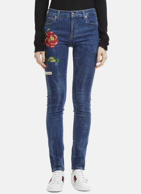 Gucci Flower Embroidered Skinny Jeans