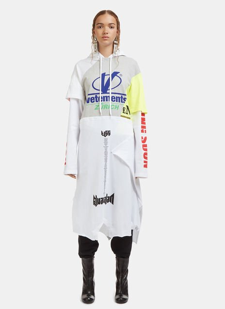 Vetements Printed Hoodie Dress