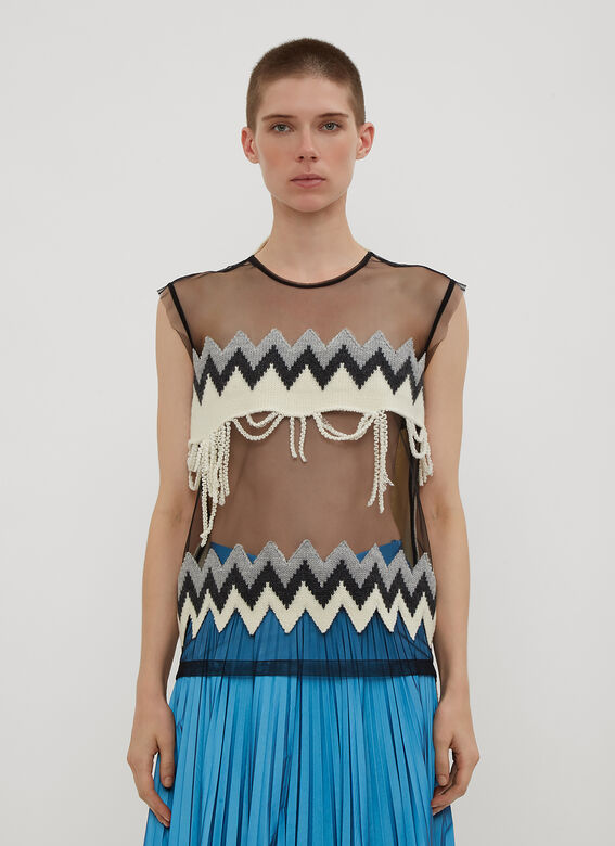 Maison Margiela Sleeveless Mesh Knit Top
