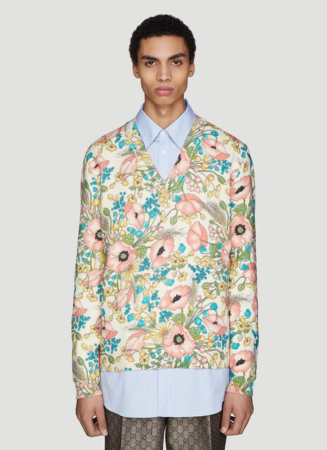Gucci V-Neck Floral print Sweater