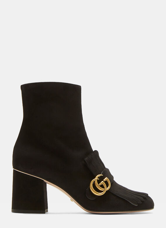 569d7df8fd26 GG Fringed Suede Marmont Ankle Boots in Black