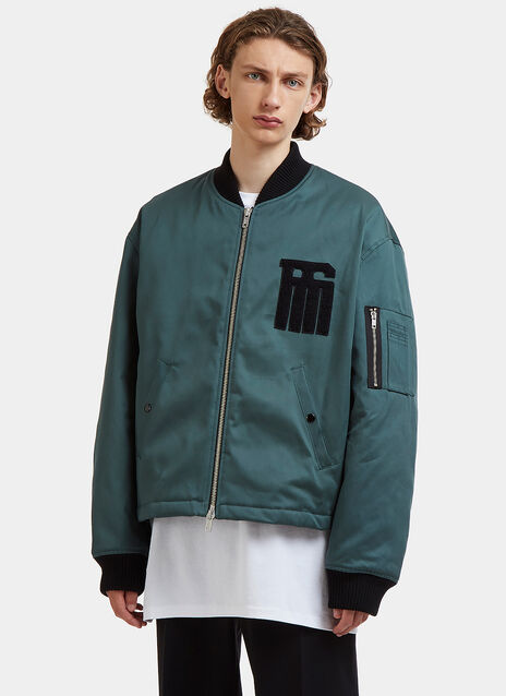 Oversized Fleeced RS Patch Bomber Jacket