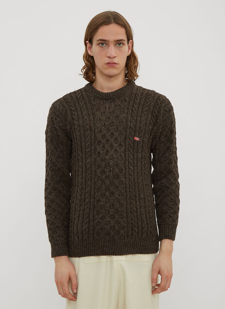 Xenia Telunts Aran Crew Neck Knit Sweater