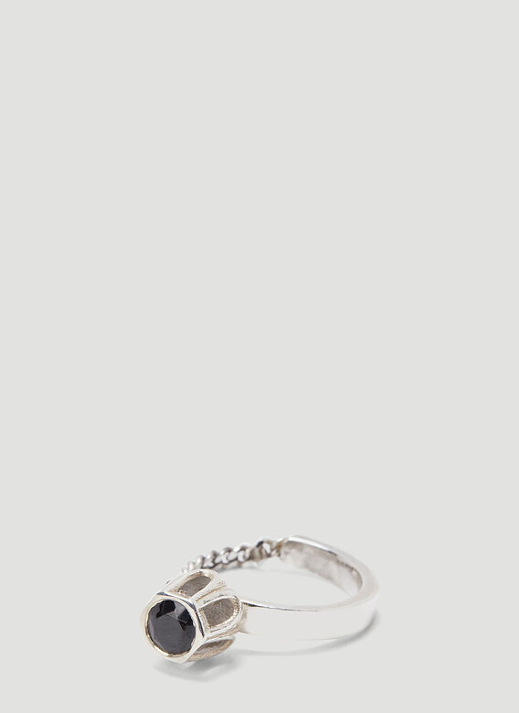 Mass STERLING SILVER BLACK SPINEL COBBLE RING 1