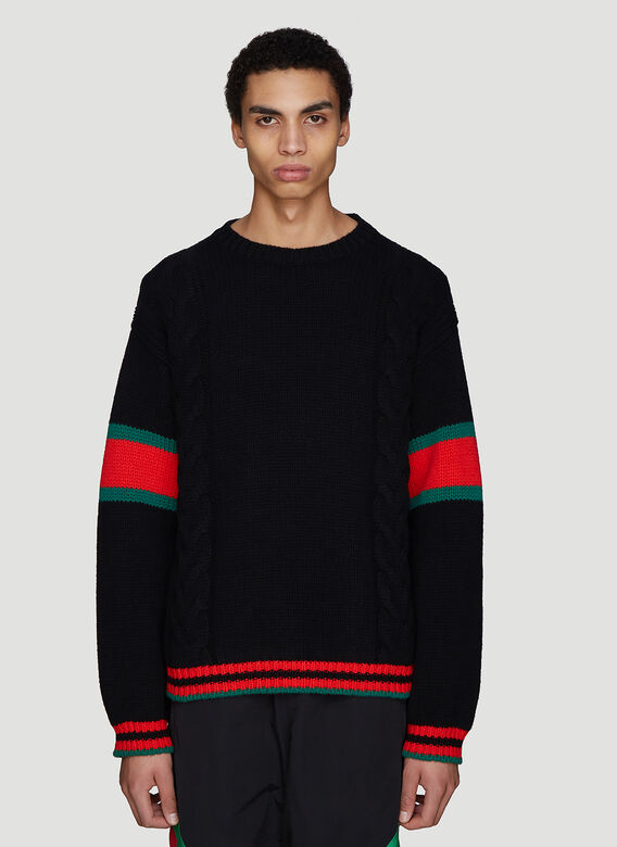4077cc4ce77d Gucci Oversized Cable Knit Sweater in Black