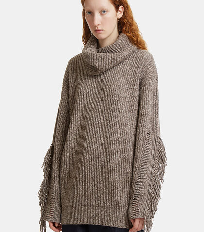 Oversized Frayed Knit Roll Neck Sweater