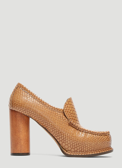Stella McCartney Snakeskin Loafer Heels