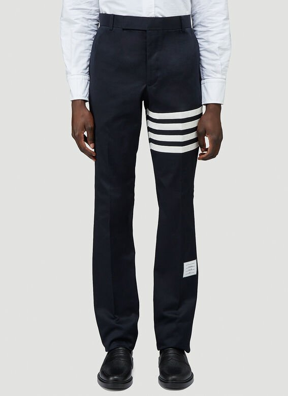 Thom Browne UNCONSTRUCTED CHINO TROUSER W/ SEAMED IN 4 BAR STRIPE IN COTTON TWILL 1