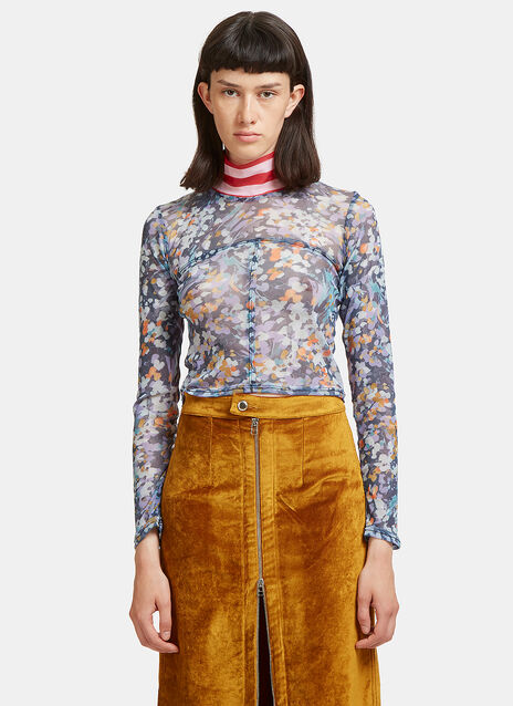 Lapped Floral Stripe Mesh Roll Neck Top