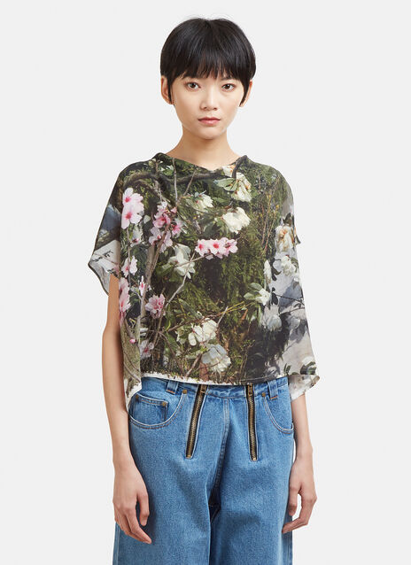 Anntian Floral Print Silk Cropped Top