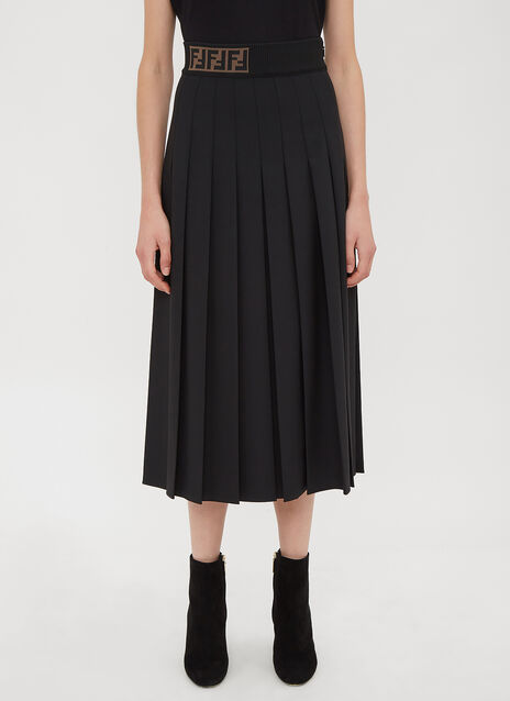 Fendi Cady Pleated Skirt