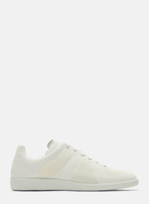 Technical Mesh Replica Sneakers In White by Maison Margiela