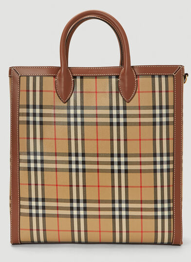 버버리 Burberry Vintage-Check Tote Bag in Beige