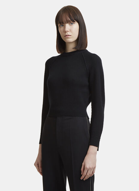 Helmut Lang Cropped Cashmere Crew Neck Sweater
