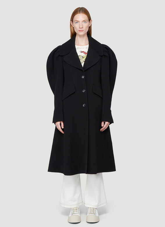 JW ANDERSON Pleated Shoulder Wool Coat in Black