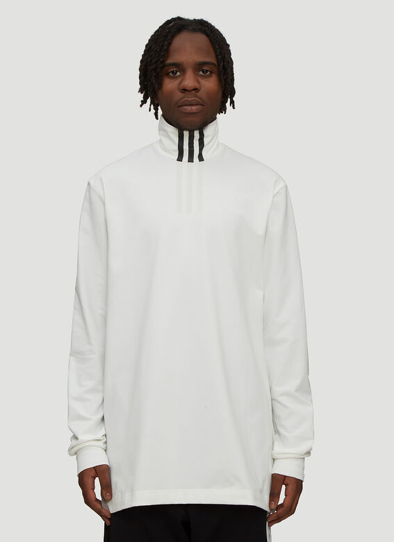 d49c69ea9 Y-3 Long Sleeve High Neck T-Shirt in White | LN-CC