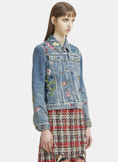 Gucci Floral Embroidered Denim Jacket