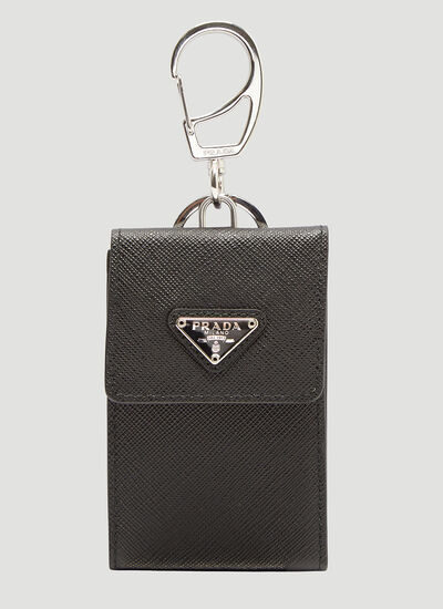 Prada Saffiano Leather Card Holder Keyring