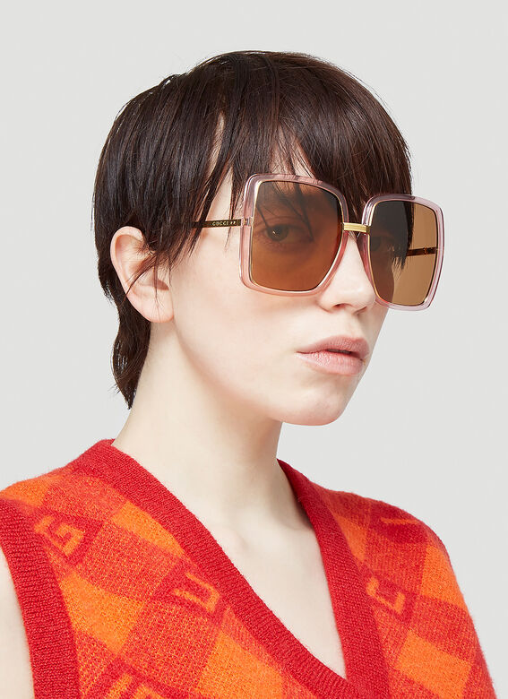 Gucci GG0903S WOMAN SUNGL - pink gold brown 2