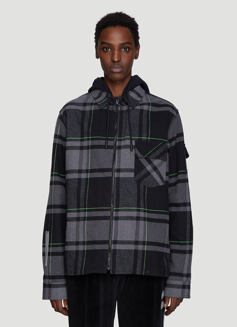 Off-White Check Hooded Shirt