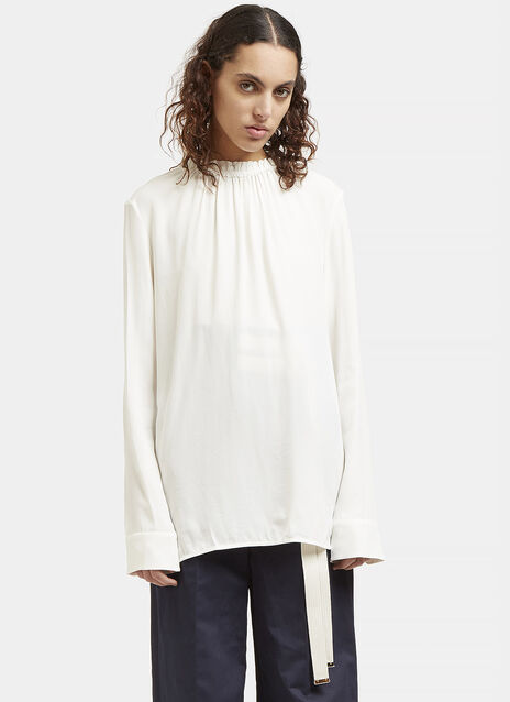 Ruffled Collar Buttoned Blouse