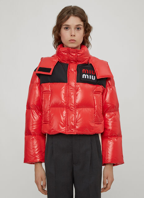 Miu Miu Cropped Logo Patch Puffa Jacket