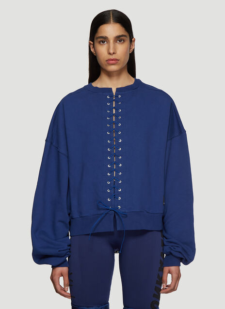 Unravel Project French Terry Lace-Up Sweatshirt