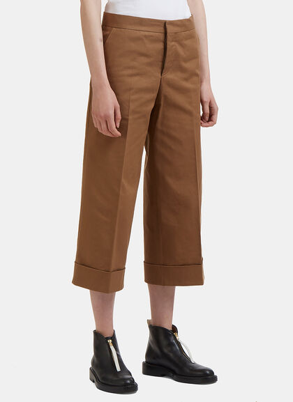 Image of Cropped Wide Leg Turned-Up Twill Pants