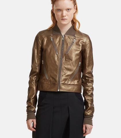 Chevron Metallic Leather Jacket