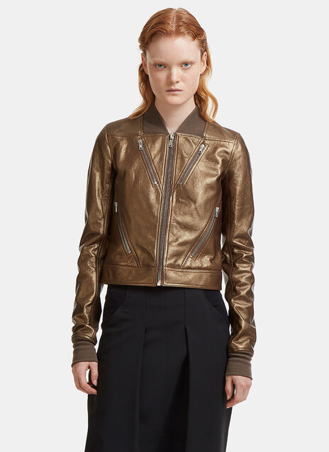 Rick Owens Chevron Metallic Leather Jacket