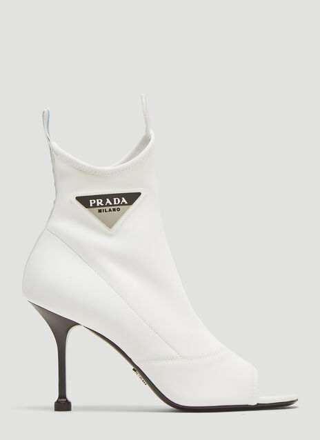 Prada Neoprene Open Toe Ankle Boots