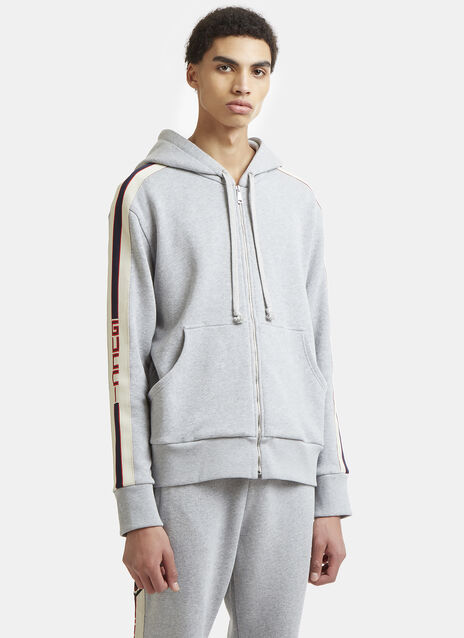 Gucci Striped Hooded Zip Up Sweater