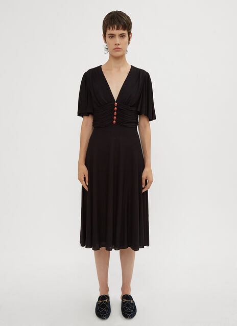 Gucci Ruched Ladybird Embellished Dress